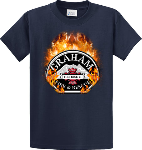 "Graham Fire Department  ""Fearless Flames"" Navy T-Shirt #33974"