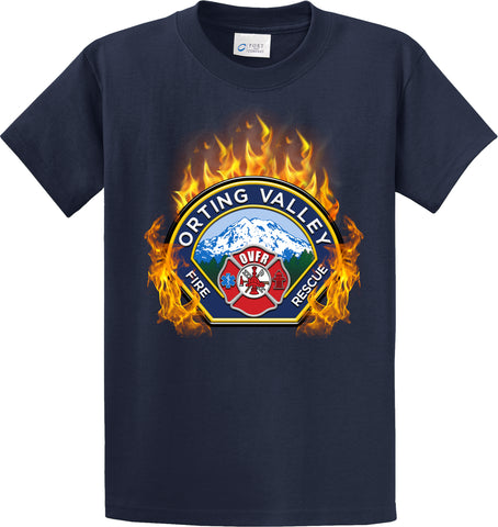 "Orting Valley Fire Department  ""Fearless Flames"" Navy T-Shirt #33976"