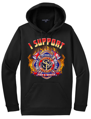 "South Pierce Fire & Rescue Morale Black Hoodie ""I support"" #33994"