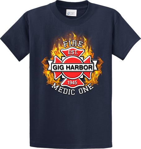 "Gig Harbor Fire Department Medic One  ""Fearless Flames"" Navy T-Shirt #34002"
