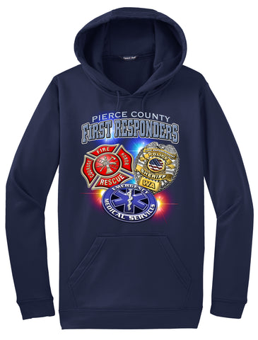 First Responders Pierce County (3 Badges)  Navy Blue  Hoodie  #34023