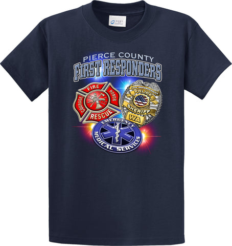 Pierce County First Responders (3 Badges) Navy Blue  T-Shirt #34023