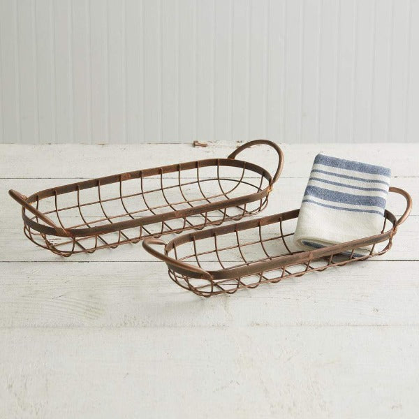 Warren Ranch and Home  Metal Accessories Set of Two Copper Finish Bread Baskets