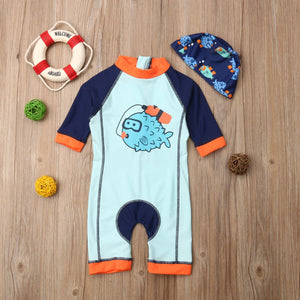 Scuba Diving Puffer Fish Swimsuit Set