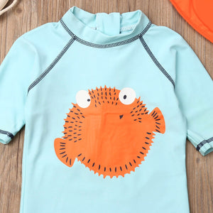 Cute Little Puffer Fish Swimsuit Set