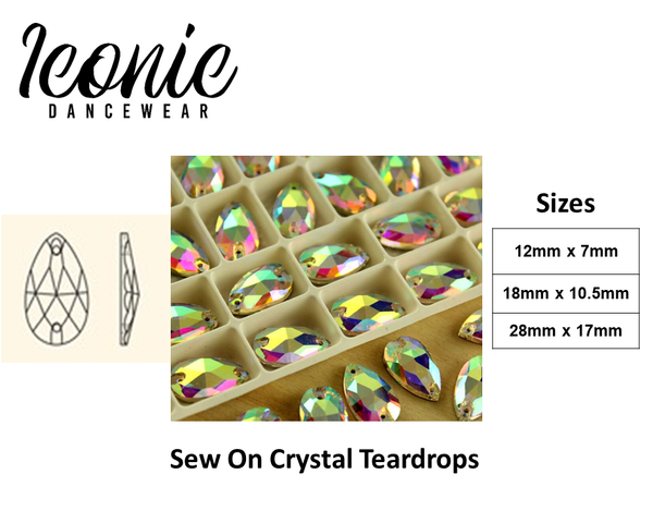 Crystal Teardrop - Crystal AB - Sew on