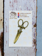 Load image into Gallery viewer, Antique Scissors Magnetic Needle Minder / Pattern Holder GOLD OR SILVER