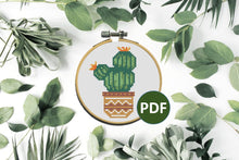 "Load image into Gallery viewer, Cactus Cross Stitch Pattern PDF 10cm / 4"" Hoop #2"