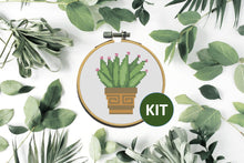 Load image into Gallery viewer, Cactus Modern Cross Stitch Kit #3 10cm Hoop With Enamel Needle Minder