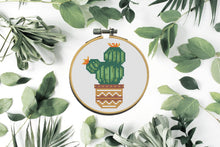 "Load image into Gallery viewer, Cactus Modern Cross Stitch Pattern Bundle of 3 PDFs for 10cm / 4"" Hoop"