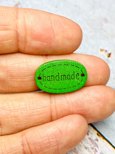 20 x sew on handmade wooden craft tags - plain or coloured