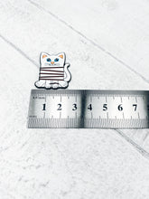 Load image into Gallery viewer, Magnetic Enamel Needle Minder - Cat embroidery / cross stitch thread bobbin
