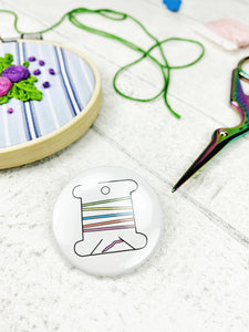 Magnetic Needle Minder / Button Badge - Thread Bobbin