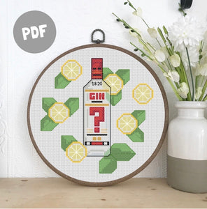Gin and Tonic Cross Stitch Pattern PDF #3 I4 count, 18 count or 22 count
