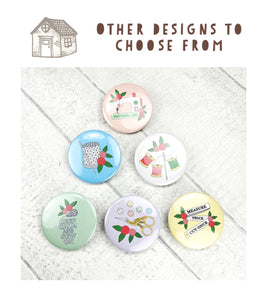 Magnetic Needle Minder / Button Badge - Needle and Thread