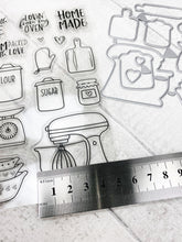 Load image into Gallery viewer, Baking Recipe Stamps and Metal Dies For Planning Journalling Scrapbooking and Card Making