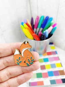 Enamel Pin Badge / Needle Minder - Fox