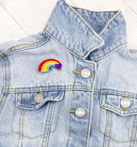 Enamel Pin Badge / Needle Minder - Heart Rainbow pride thank you pocket hug