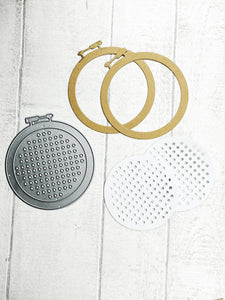 Cross stitch hoop metal cutting dies set for scrapbooking, planning, journaling and card making