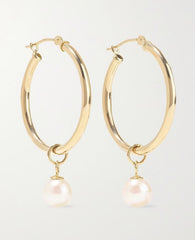 Nikki 14K Hoop & Pearl Earrings