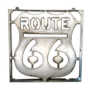 "13"" Metal Route 66 Sign Wall Art"