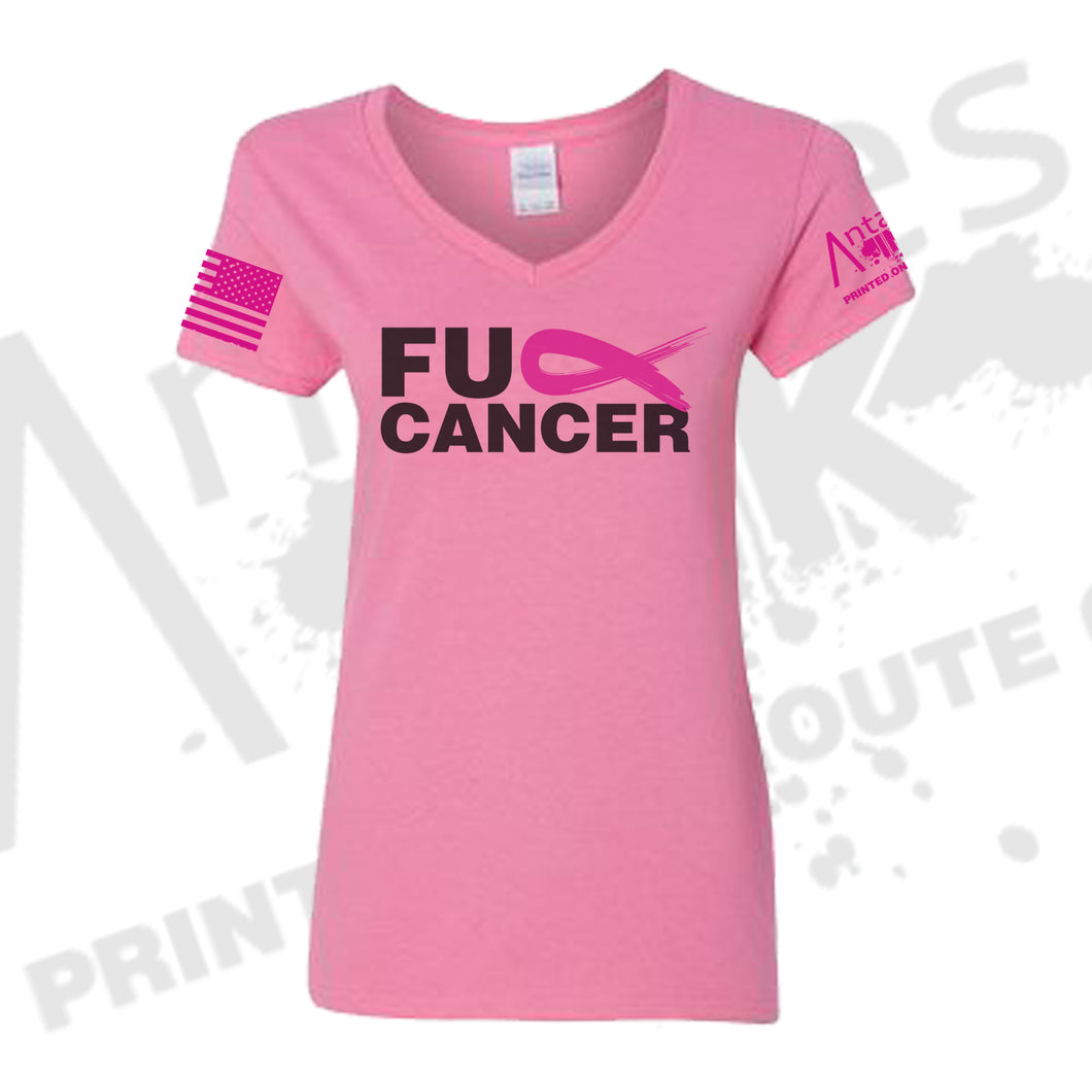 Pink FK Cancer - Women's V-Neck - Breast Cancer Awareness