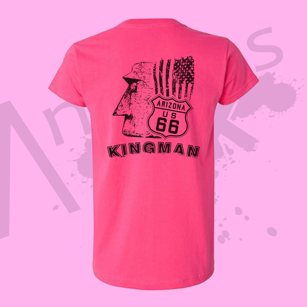 Womens PINK - Official Giganticus Headicus® Route 66 Tee