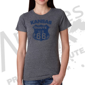 Womens - Route 66 Sign Grunge - Kansas