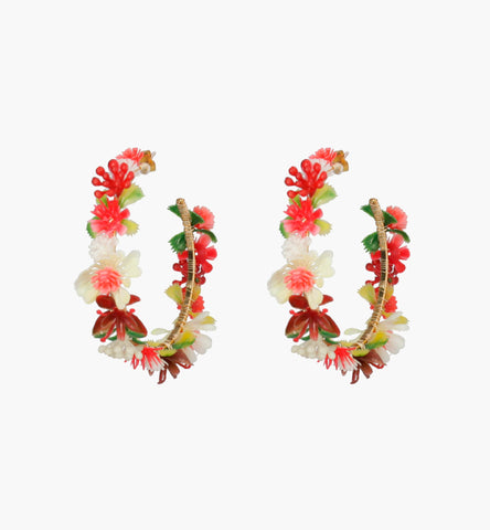 Wild Flowers Hoop Earrings