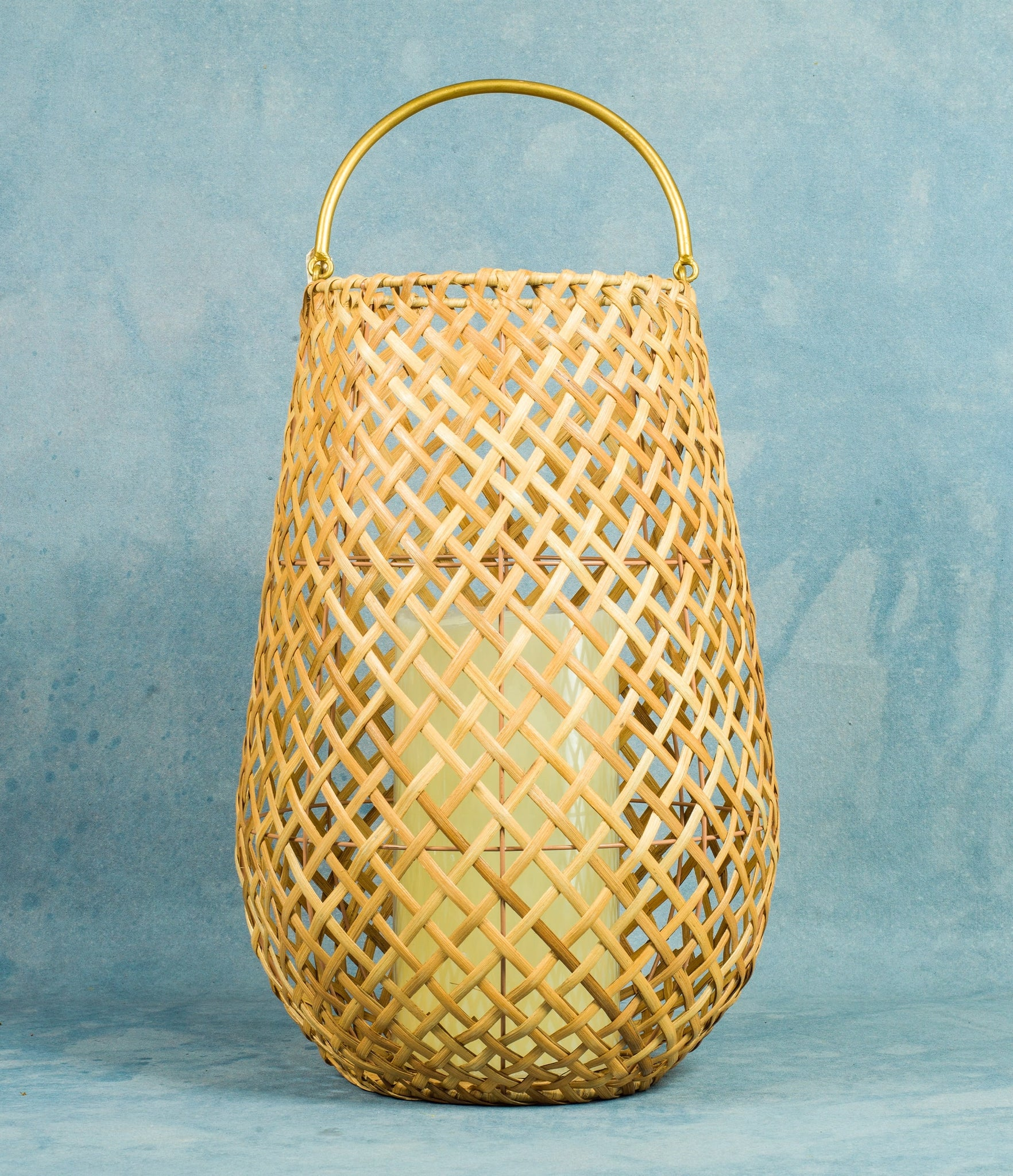 Wicker Lattice Hurricane Lantern - Large