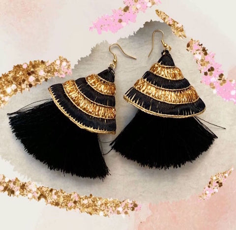 Ethnic Textile Earrings with Black and Golden Embroidery