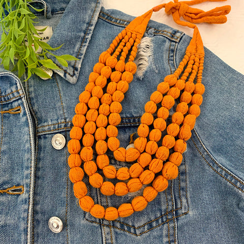 Handcrafted Burnt Orange Bobble Necklace (4 layers)