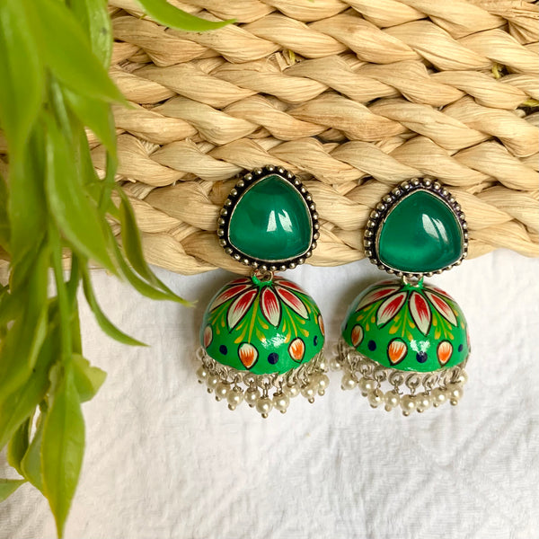 Bohemian Hand Painted Stone Earrings