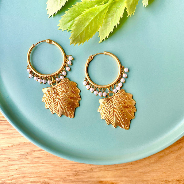Fall Leaf Matt Gold Earrings