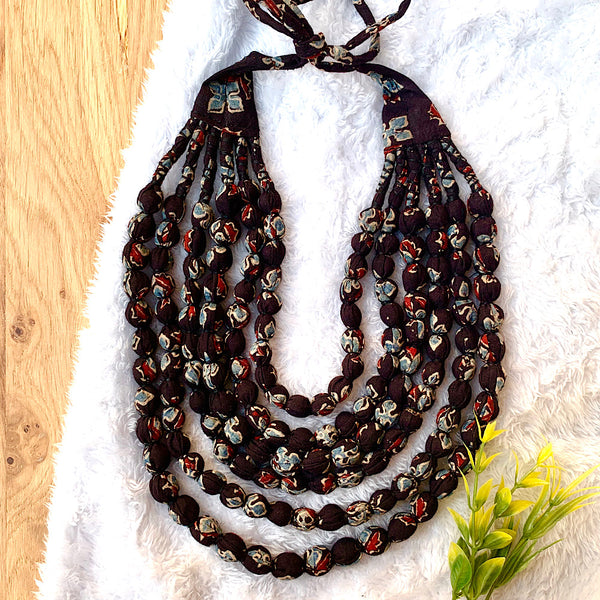 Hand Block Printed Bobble Necklace (6 layers)