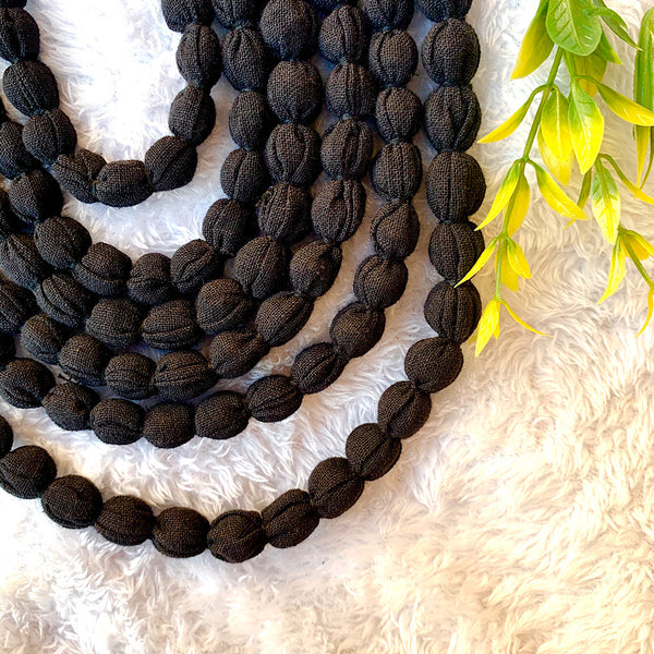 Handcrafted Black Bobble Necklace (6 layers)