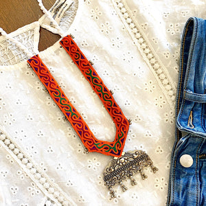 Handcrafted Vintage Tribal Orange Necklace