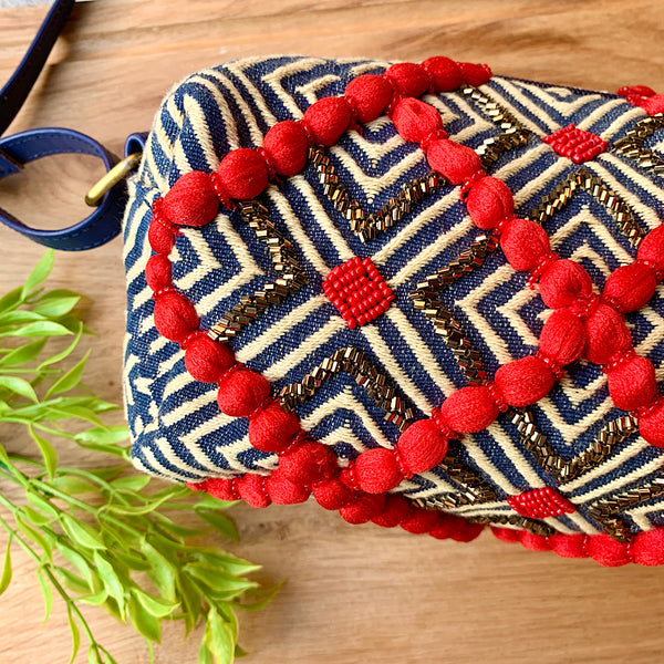 Hand Embroidered Red & Gold Pop on Blue Sling Bag