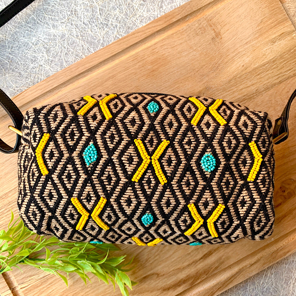 Hand Embroidered Yellow on Black Sling Bag - Style 1