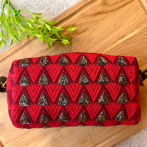 Hand Embroidered Shimmery Red Sling Bag