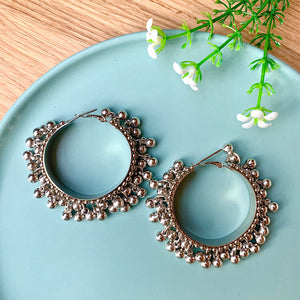 Silver Oxidised Hoop Earrings