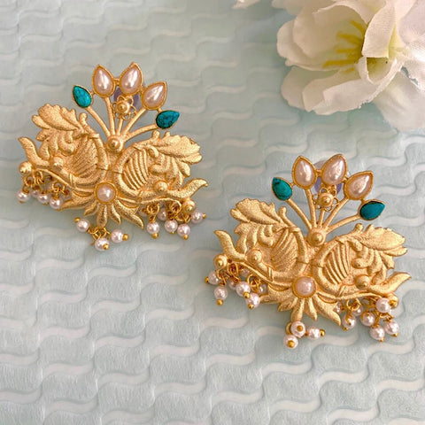 Ethnic Matt Gold Earrings