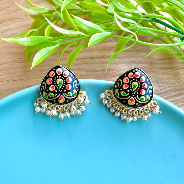 Hand Painted Single Stone Earrings