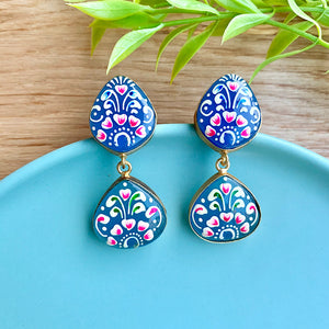 Hand Painted Drop Stone Earrings