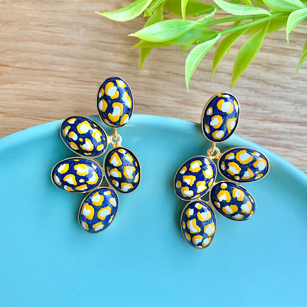 Hand Painted Five Stone Earrings