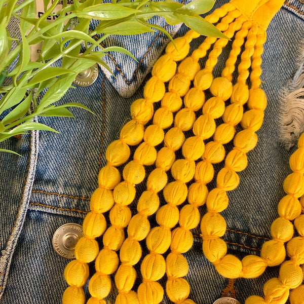 Handcrafted Bright Yellow Bobble Necklace (6 layers)