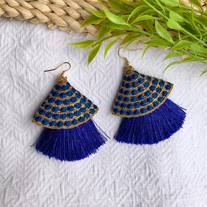 Tassel Earrings with Embroidery