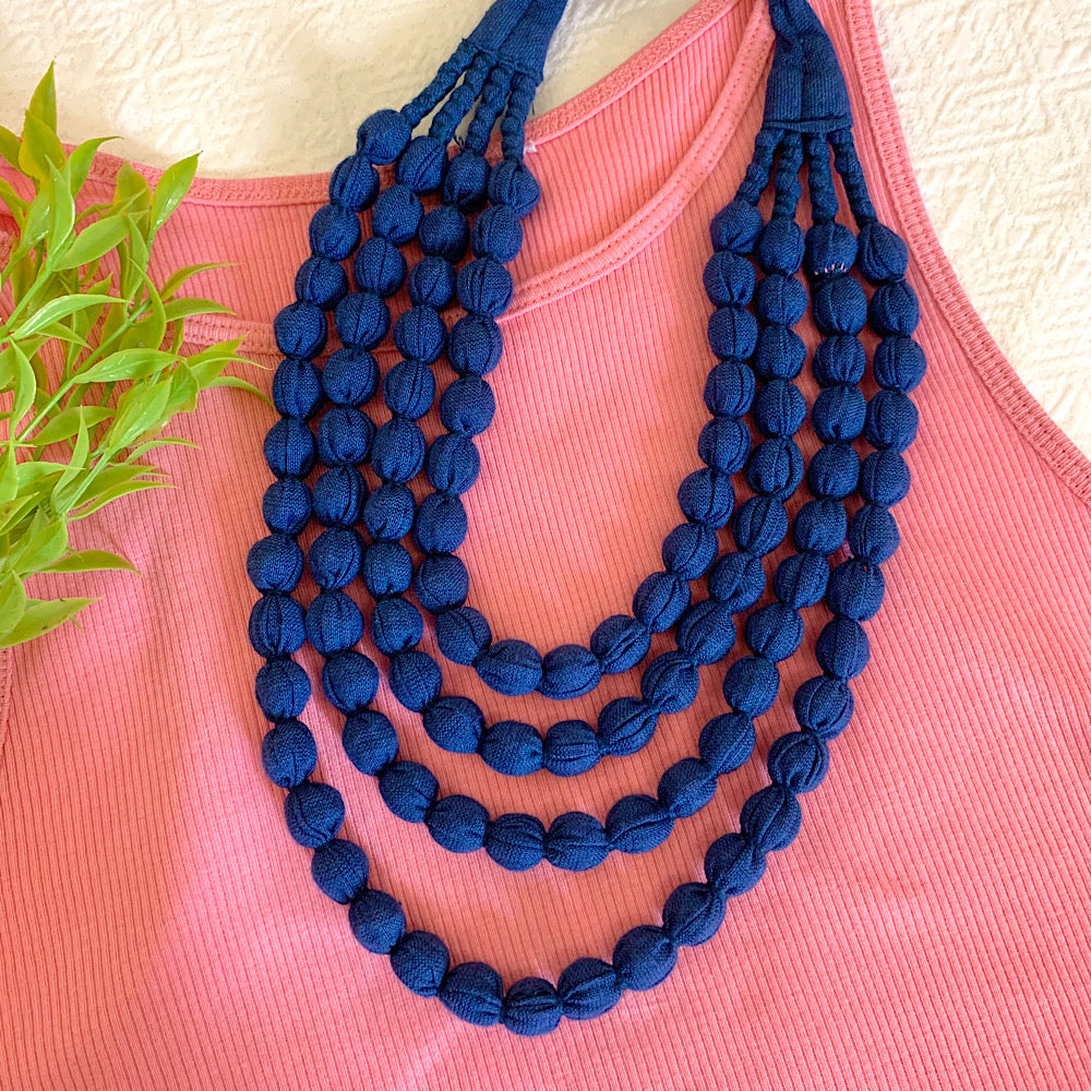 Handcrafted Navy Blue Bobble Necklace (4 layers)