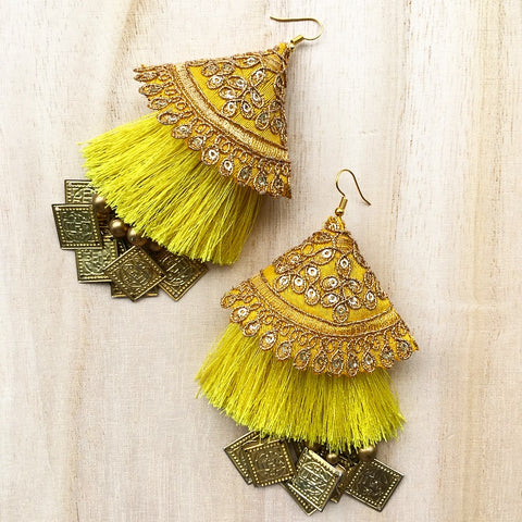 Square Dangler Earrings with Golden Embroidery