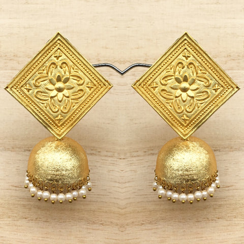 Hand Carved Matt Gold Tile Earrings with Dool